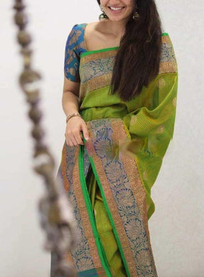 Green Colour New Trendy Latest Collection Soft And Smooth Golden Zari Digital Print Saree