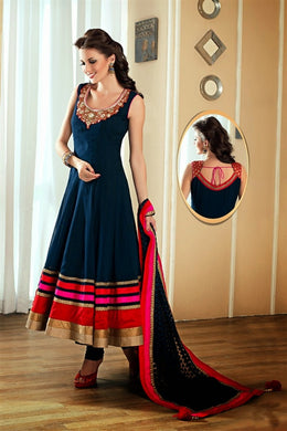 Designer Nevyblue Satin Bangrori And Embroidery? Neck Work Anarkali Salwar Kameez