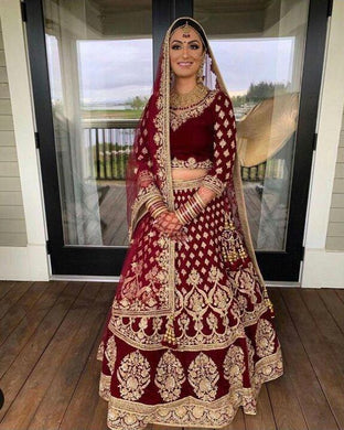 Maroon Color Perfect For Bridal On Velvet Embroidery Lehenga Choli With Dupatta