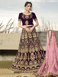 Perfect Bridal Look Wine Color Velvet Full Heavy Cordding Work Lehenga Choli With Dupatta