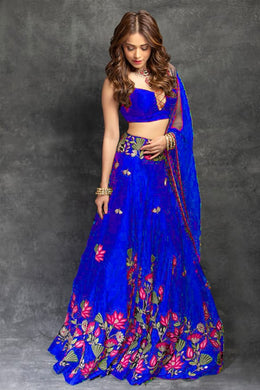 Festival Wedding Royal Blue Color Taffeta Silk Embroidered Lehenga Choli