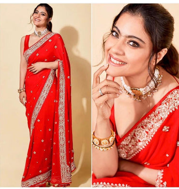 New Party Wear Look Red Color Georgette Embroidered Work Saree