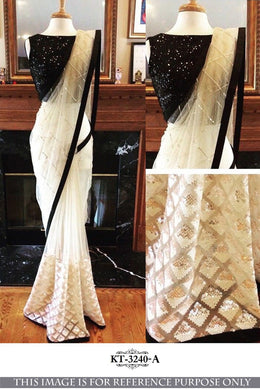 Designer Border White Nailon Net Multtin And Sequnce Work Saree