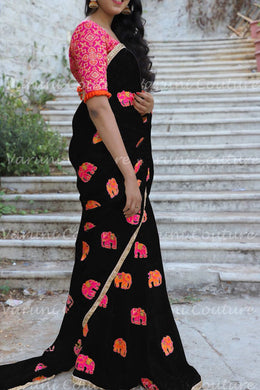 Black Chanderi Cotton Embroidery Bollywood Look Saree