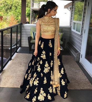 Black Color New Designer Satin Banglory Silk Embroidered Lehenga Choli