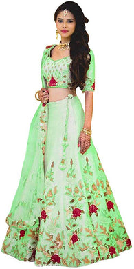 Pista Color Satin Banglory Silk Embroidered Lehenga Choli