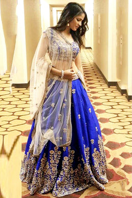 Beautifull Blue Color Satin Banglory Silk Embroidered Lehenga Choli