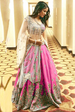 Indian Pink Color Satin Banglory Silk Embroidered Lehenga Choli