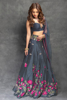 Wedding Grey Party Wear Taffeta Silk Embroidered Lehenga Choli