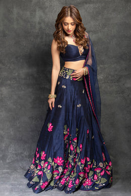 Navyblue Bollywood Party Wedding Taffeta Silk Embroidered Lehenga Choli
