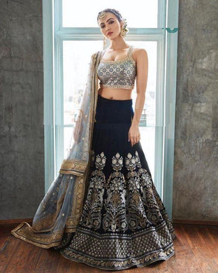 Attractive Festival Black New Velvet Embroidered Lehenga Choli