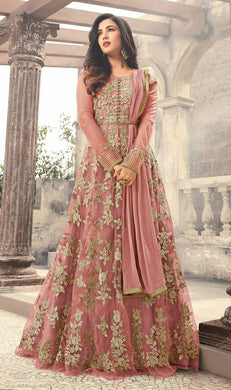 New Soft Net Attractive Peach Color Embroidered Heavy Gown