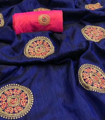 New Designer Blue And Pink Color Sana Silk Saree With Work Blouse