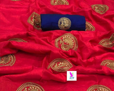 New Designer Red And Blue Sana Silk Saree With Blouse