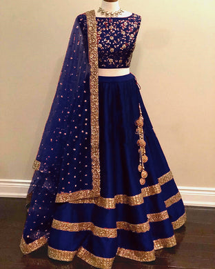 Glorious Navyblue Color Awesome Taffeta Silk Embroidered Lehenga Choli
