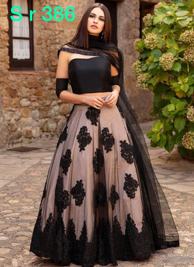 Party Wear Wedding Black New Designer Soft Net Embroidered Lehenga Choli