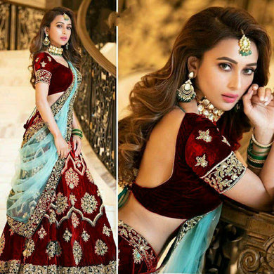 Bollywood Wedding Red Color Embroidered Velvet Lehenga Choli