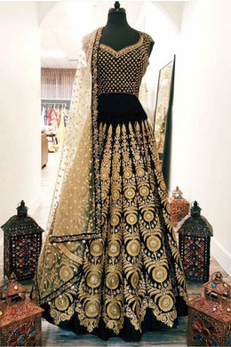 Bridal Black Velvet Heavy Work Lehenga Choli With Embroidery Dupatta