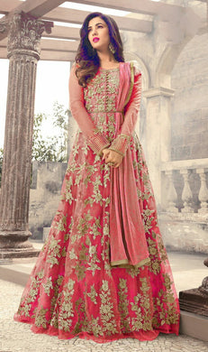 Pink Color New Beautiful Soft Net Embroidered Heavy Gown