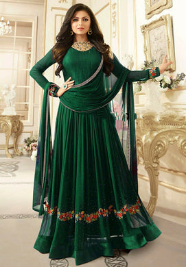 Imperial Bridal Bollywood Green Color Faux Georgette Embroidered Gown