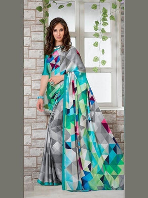 Multi Color New Fancy Designer Party Wear Ultra Satin Unique Printed Saree With Blouse