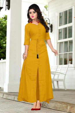 Attactive Yellow Colour Reyon Long Kurti With Extra Belt