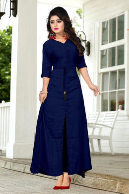 Designer Navyblue Colour Reyon Long Kurti With Extra Belt