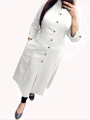 Best Quality White Colour Selfi Kurti With Heavy Pc Cotton Stiched Kurti