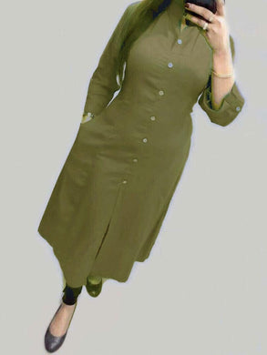 New Collection Mahendi Colour Selfi Kurti With Heavy Pc Cotton Stiched Kurti