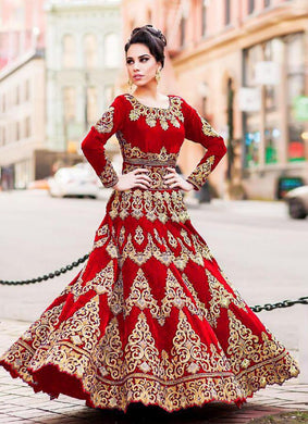 Heavy Red Colour Tapeta Silk Lehenga