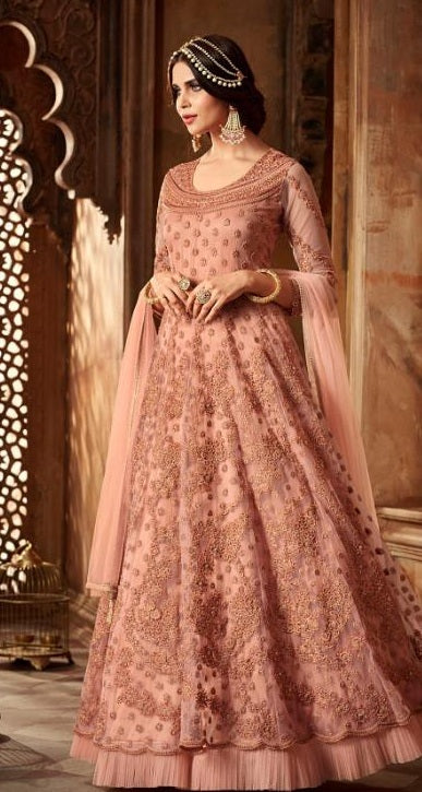 53a68ea0d36 New Arrival Bollywood Style Peach Colour Heavy Net With Embroidery + Moti  Work Salwar Suit ...