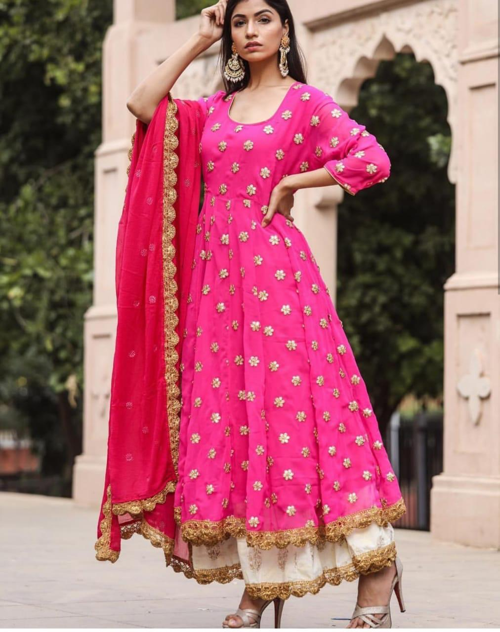 fb57d6ed503 Amazing Pink Colour Georgette With Embroidery Work Salwar Suit – SAREEU™