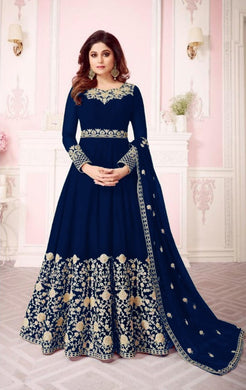 Blue Colore New Pakistani Style Designer Dress Embroidery Work Salwar Suit