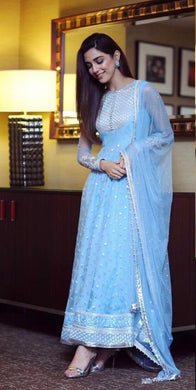 Skyblue Colore New Arrival Pakistani Style Designer Dress Designer Salwar Kameez With Bollywood S