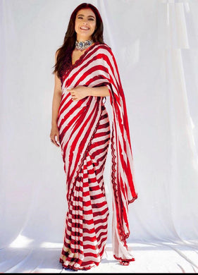 Red Colore Bollywood Style Wedding Wear Designer Saree