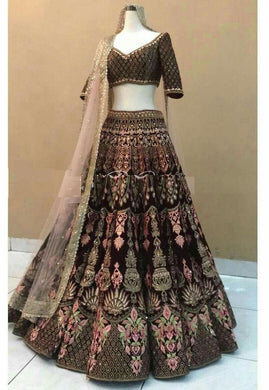 Brown Colore Designer Bollywood Style Wedding Wear Heavy Fancy Embroidery Work Lehenga Choli