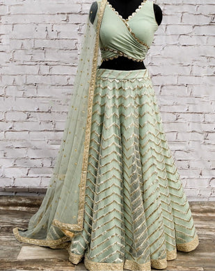 Pista Colore Bollywood Style Designer Embroidery Work With Wedding Wear Lahenga Choli