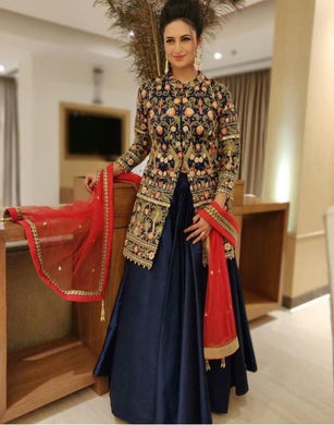Blue Colore Designer Bollywood Style Wedding Wear Heavy Fancy Embroidery Work Lehenga Choli
