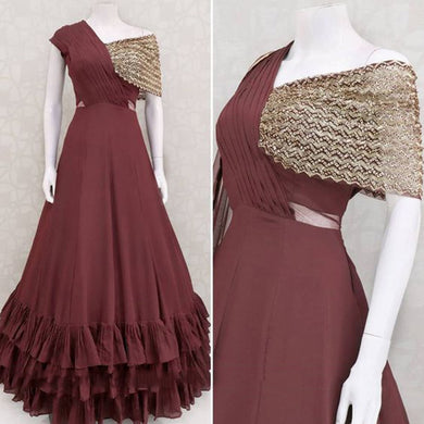 Maroon Colorbollywood Styledesiner Wear Gown