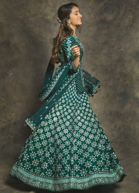 Green Color Designer Bollywood Style Wedding Wear Heavy Work Lehenga Choli