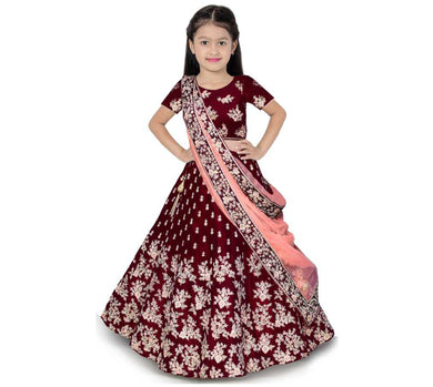 7-14 Year Girls Lehenga Choli Ethnic Wear Embroidered Lehenga