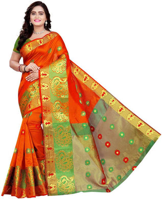 Self Design Banarasi Cotton Blend, Jacquard, Poly Silk, Jute Blendmulticolor Saree (orange)