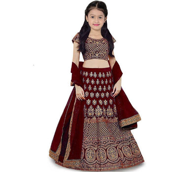 8-12 Year Baby Girls Lehenga Choli Ethnic Wear Embroidered Lehenga Choli (maroon, Pack Of 1)