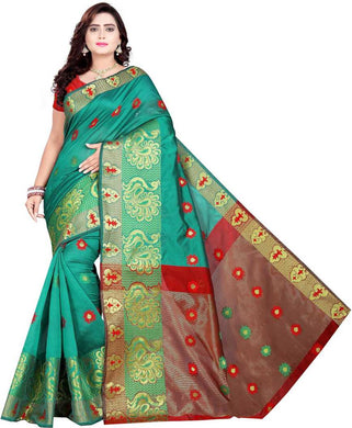 Self Design Banarasi Cotton Blend, Jacquard, Poly Silk, Jute Blen Saree (light Seagreen)