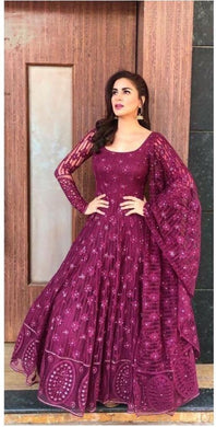 Wine Colore New Arrival Heavy Net With Embroidery Work With Anarkali Dress And Gown