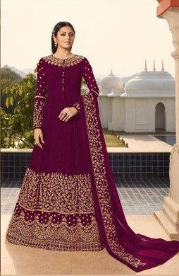 Wine Colore New Pakistani Style Designer Dress Embroidery Work Salwar Suit