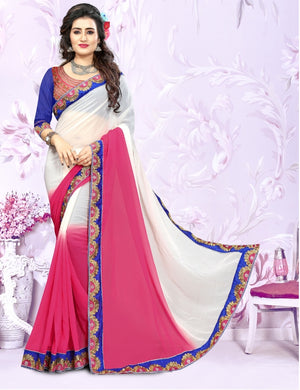 Multi Colore Embrodery Work Bollywood Style Georgette Saree With Designer Lace Border