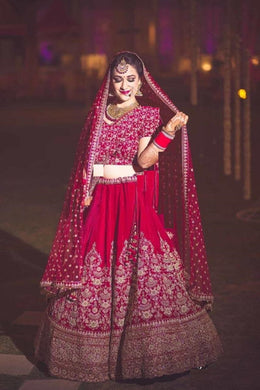 Red Colore Designer Bollywood Style Wedding Wear Heavy Fancy Embroidery Work Lehenga Choli