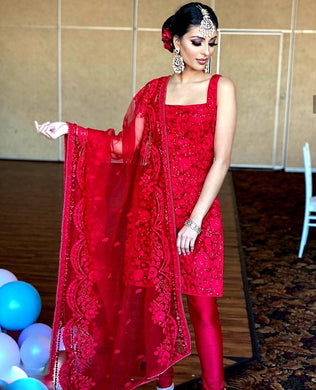 Red Color Bollywood Style Wedding Wear Salwar Kamiz Dupatta