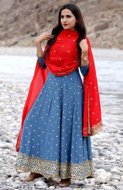 Blue Color Bollywood Style Salwar Kameez Dupatta With Embroydury Workr Party Wear Salwar Kameez D